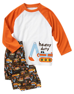 Boys White Heavy Duty Two-Piece Pajama Set by Gymboree