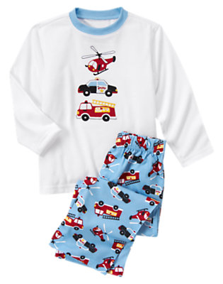 Boys White Rescue Vehicles Two-Piece Pajama Set by Gymboree