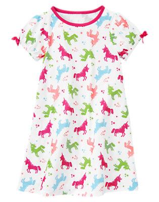 Girls White Unicorn Pajama Gown by Gymboree