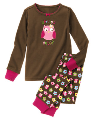 Toddler Girls Chocolate Brown Whooo's Cute? Two-Piece Gymmies® by Gymboree