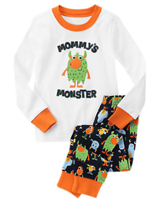 Toddler Boys White Mommy's Monster Two-Piece Gymmies® by Gymboree