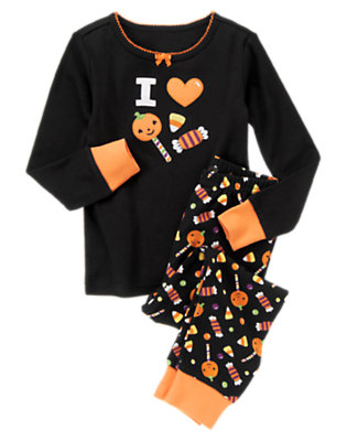 Toddler Girls Black I Heart Candy Two-Piece Gymmies® by Gymboree