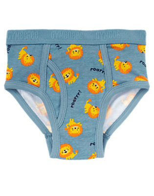 Boys Dusty Blue Lions Brief by Gymboree