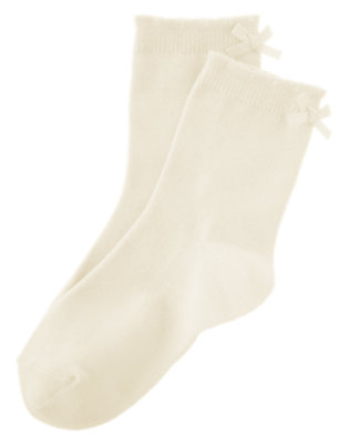 Girls Ivory Bow Sock by Gymboree