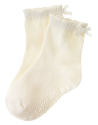 Toddler Girls Ivory Bow Sock by Gymboree