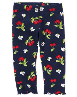 Navy Cherry Cherry Print Legging by Gymboree