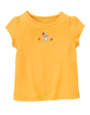 Sunflower Yellow Embroidered Flower Mouse Tee by Gymboree