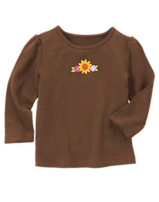 Chocolate Brown Embroidered Sunflower Long Sleeve Tee by Gymboree