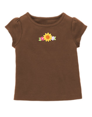 Chocolate Brown Embroidered Sunflower Tee by Gymboree