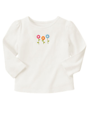 Ivory Little Flowers Long Sleeve Tee by Gymboree