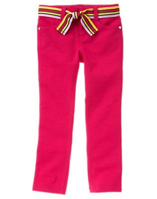 Fuchsia Pink Stripe Belt Ponte Pant by Gymboree