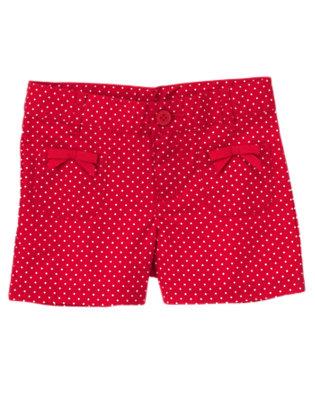 Girls Cherry Red Mini Dot Bow Pocket Mini Dot Short by Gymboree