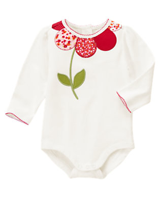 Baby Ivory Mixed Print Flower Bodysuit by Gymboree
