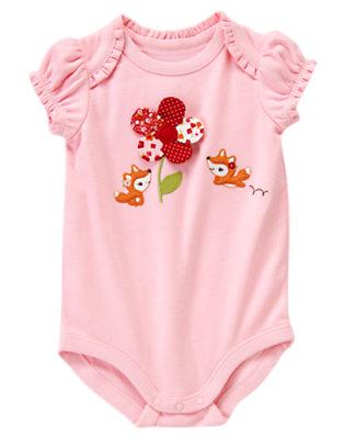 Petal Pink Mixed Print Flower Fox Bodysuit by Gymboree