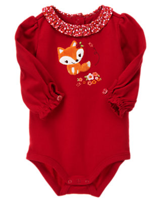 Zinnia Red Fox Ruffle Collar Bodysuit by Gymboree