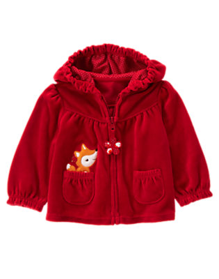 Zinnia Red Fox Velour Hoodie by Gymboree
