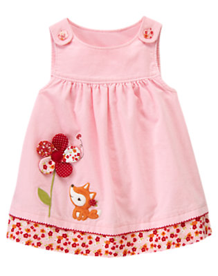 Adorable Pink Fox Flower Corduroy Jumper by Gymboree