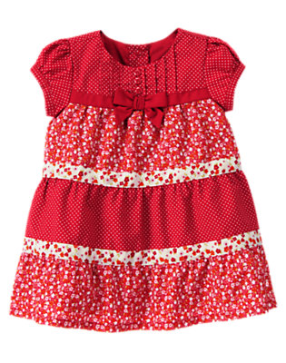 Zinnia Red Floral Floral Mixed Print Dress by Gymboree
