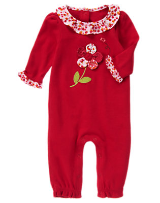 Baby Zinnia Red Flower One-Piece by Gymboree