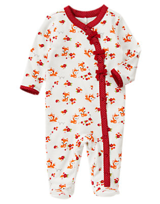 Ivory Fox Floral Fox Footed One-Piece by Gymboree