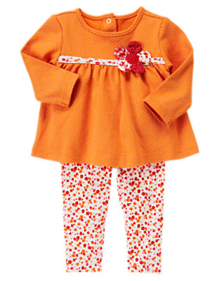 Pumpkin Orange Mixed Print Flower Dot Two-Piece Set by Gymboree