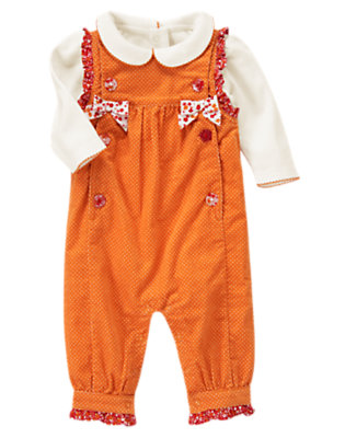 Pumpkin Orange Mixed Print Overall Two-Piece Set by Gymboree