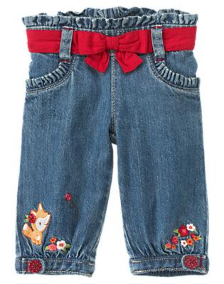 Baby Denim Fox Flower Sash Jean by Gymboree