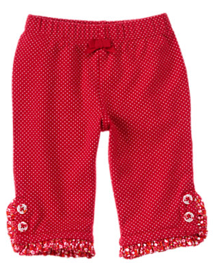 Zinnia Red Dot Dot Ruffle Pant by Gymboree