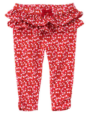 Baby Zinnia Red Floral Floral Ruffle Legging by Gymboree