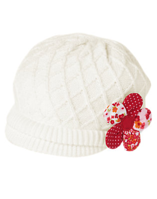 Ivory Mixed Print Flower Sweater Hat by Gymboree