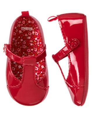Zinnia Red T-Strap Patent Crib Shoe by Gymboree
