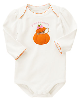 Ivory Little Pumpkin Bodysuit by Gymboree
