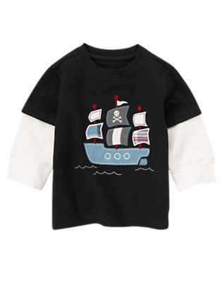 Toddler Boys Black Pirate Ship Double Sleeve Tee by Gymboree
