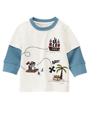 Toddler Boys Ivory Treasure Hunt Double Sleeve Tee by Gymboree