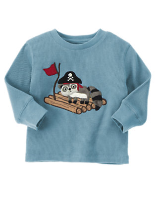 Toddler Boys Slate Blue Raccoon Pirate Island Thermal Tee by Gymboree
