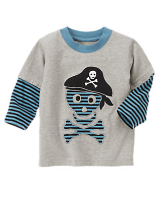 Heather Grey Skull and Crossbones Stripe Double Sleeve Tee by Gymboree