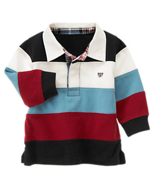 Black Raccoon Stripe Rugby Shirt by Gymboree