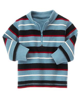 Slate Blue Stripe Multi Stripe Half Zip Pullover by Gymboree