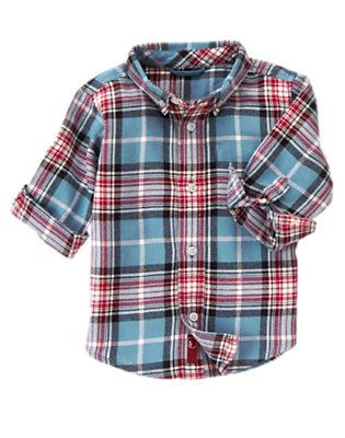 Slate Blue Plaid Plaid Flannel Shirt by Gymboree