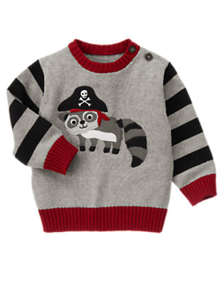 Heather Grey Raccoon Pirate Sweater by Gymboree