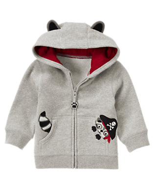 Heather Grey Raccoon Pirate Hoodie by Gymboree