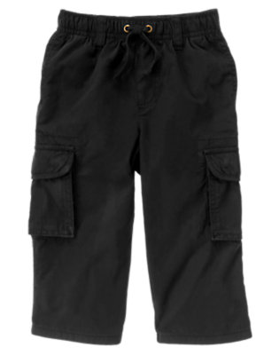 Toddler Boys Black Lined Cargo Active Pant by Gymboree