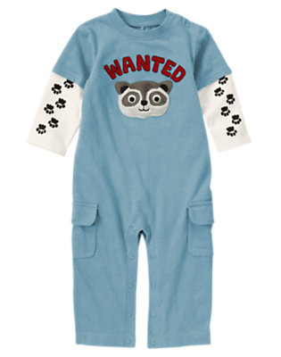 Slate Blue Raccoon Double Sleeve One-Piece by Gymboree