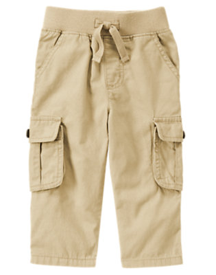 Khaki Pull-On Canvas Cargo Pant by Gymboree