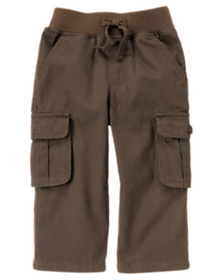 Chocolate Brown Pull-On Canvas Cargo Pant by Gymboree
