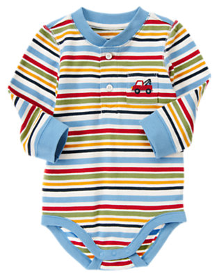 Tow Truck Blue Stripe Tow Truck Henley Stripe Bodysuit by Gymboree