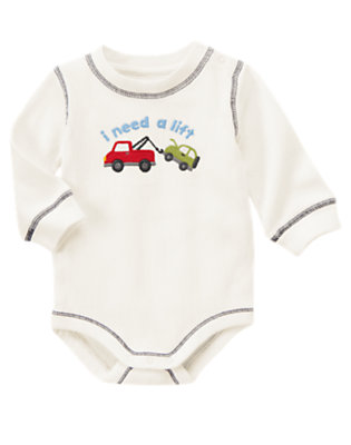 Jet Ivory Tow Truck Bodysuit by Gymboree