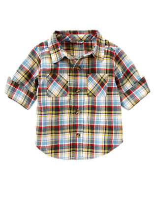 Tow Truck Blue Plaid Plaid Flannel Shirt by Gymboree