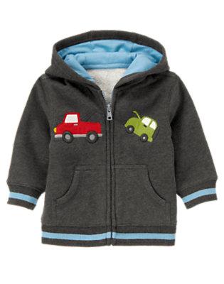 Baby Asphalt Grey Tow Truck Hoodie by Gymboree