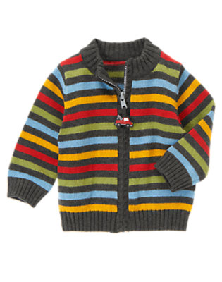 Asphalt Grey Stripe Stripe Zip Sweater by Gymboree